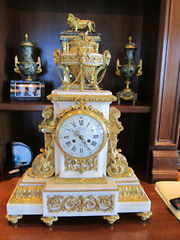 ANTIQUE THREE PIECE WHITE MARBLE CLOCK SET