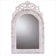 Arched-Top White Wall Mirror